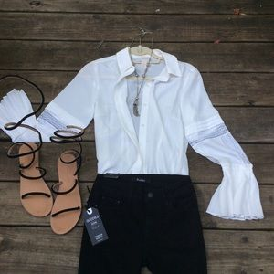 Chico's Must Have White Button Up w BoHo Flair